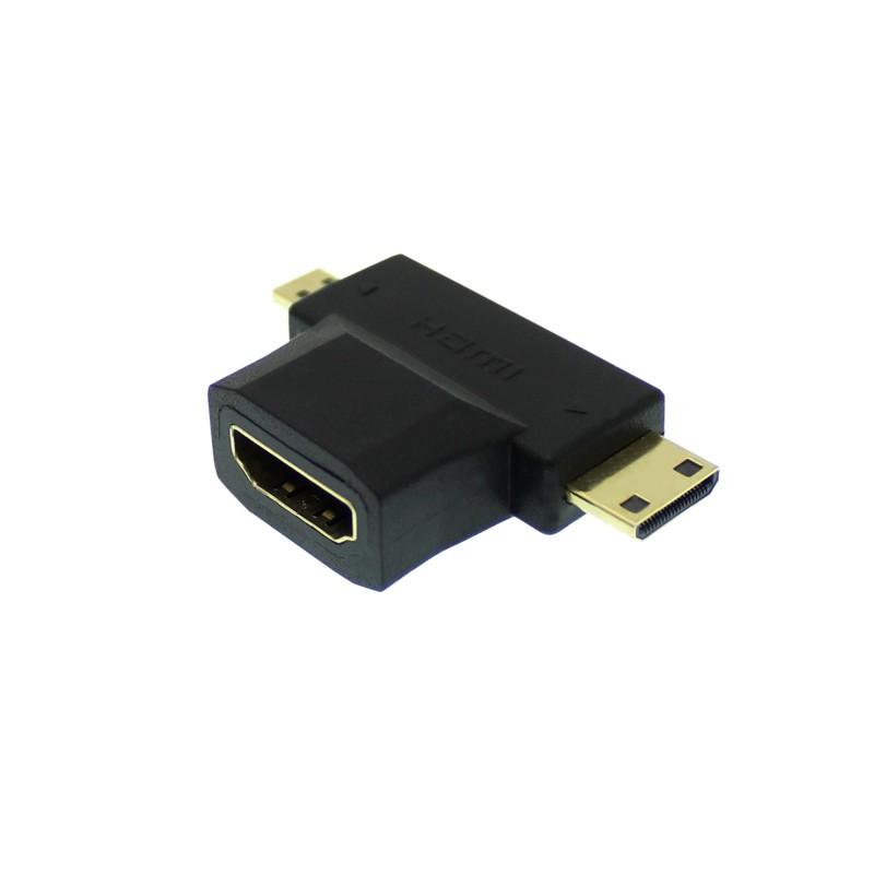 Αντάπτορας T HDMI θηλυκό σε micro HDMI και mini HDMI αρσενικά 1.4V OEM