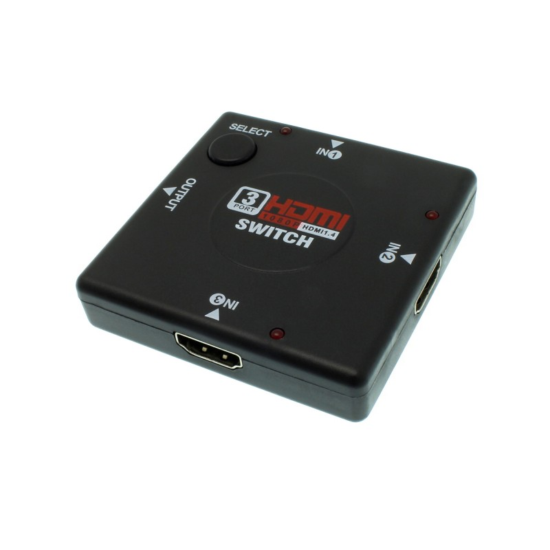 Διακόπτης HDMI με 3 εισόδους και 1 έξοδο 1080P 2K μαύρος OEM