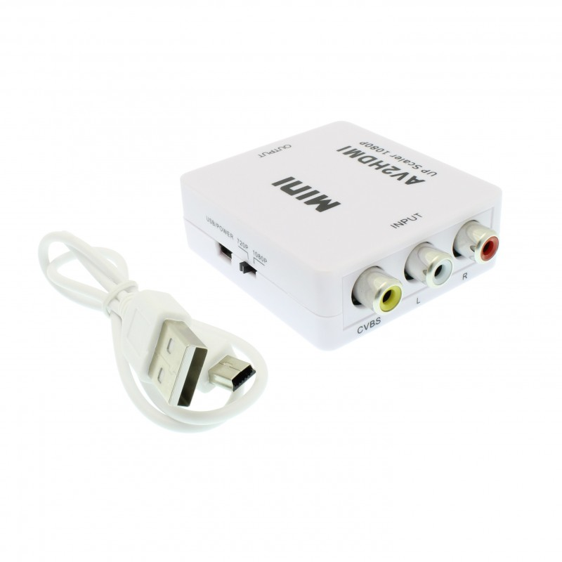 Μετατροπέας CVBS/RCA/AV σε HDMI Upscaler 1080P λευκός OEM