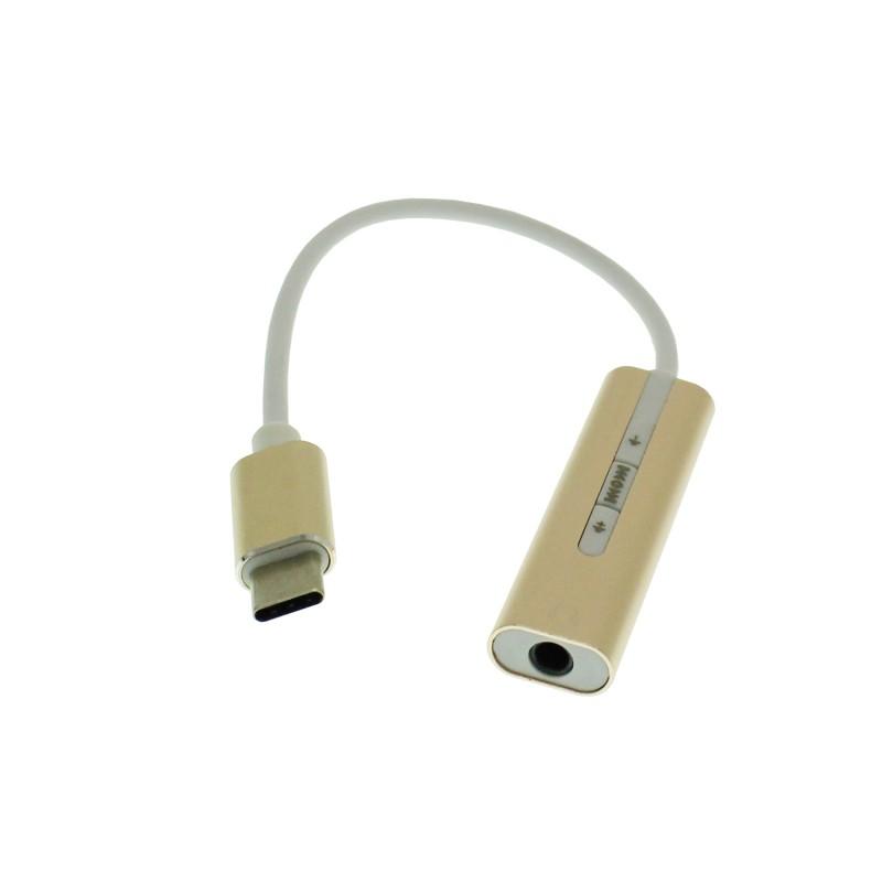 Type C σε 3.5mm αντάπτορας ακουστικών sound card 7.1 χρυσό OEM USB ee3535
