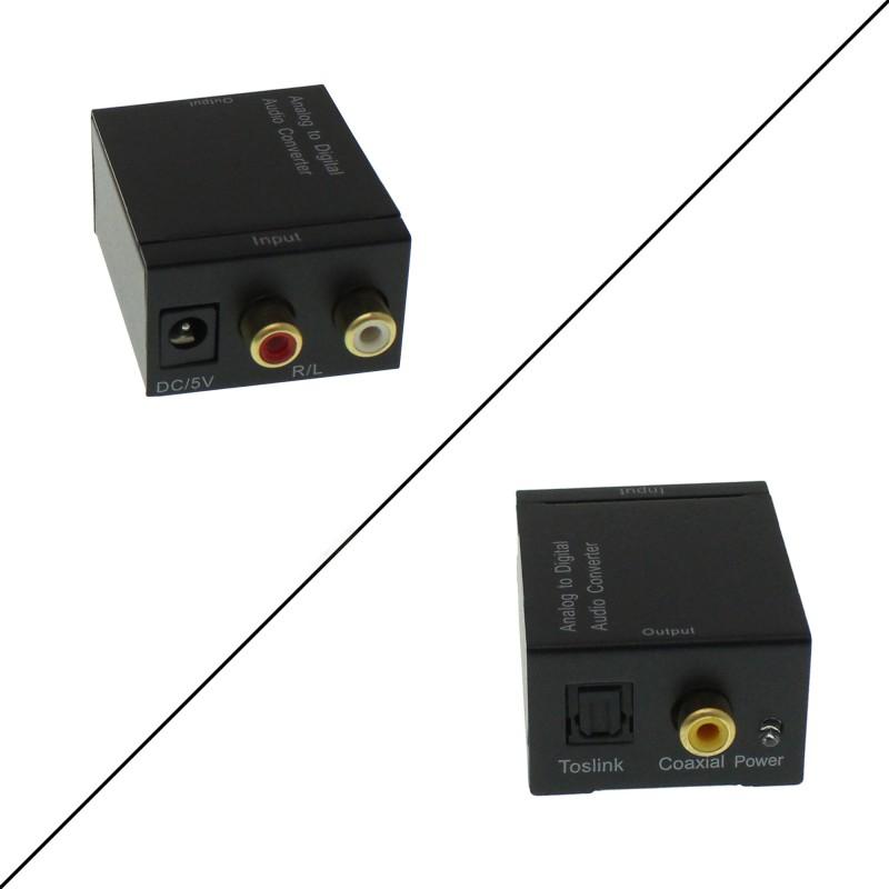 Μετατροπέας stereo RCA σε ψηφιακό ήχο Toslink/Coaxial με καλώδιο τροφοδοσίας και οπτικής ίνας ANGA CVA-3005 OEM
