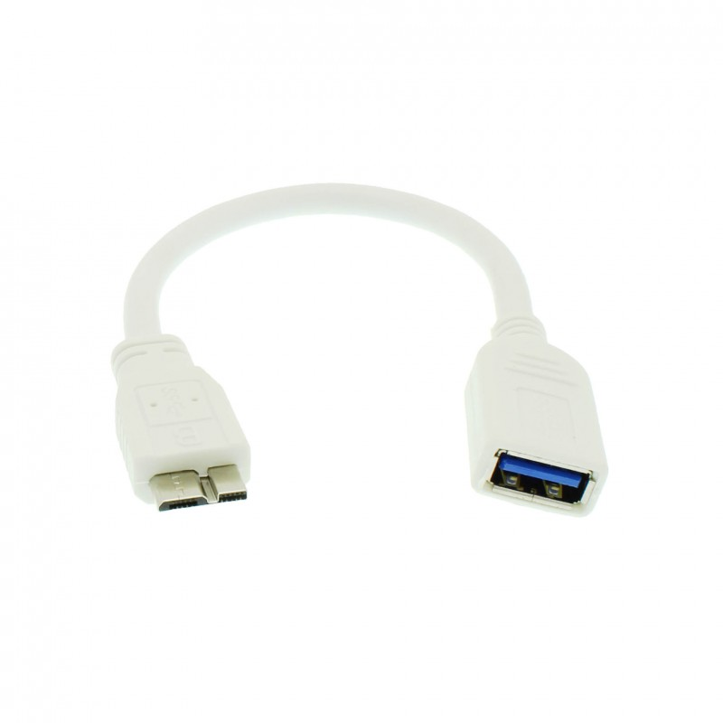 Αντάπτορας με καλώδιο 14cm USB 3.0 Type A θηλυκό σε Micro USB Type B αρσενικό λευκό OEM
