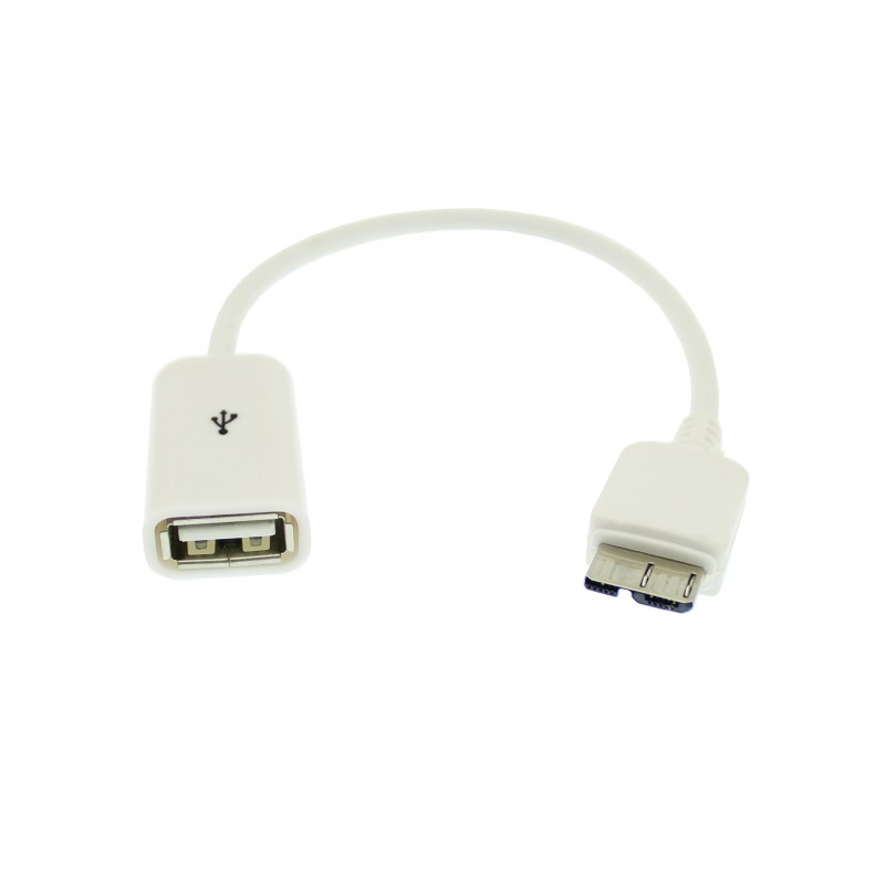 Αντάπτορας με καλώδιο 14cm Micro USB 3.0 Type B αρσενικό σε USB θηλυκό λευκό OEM