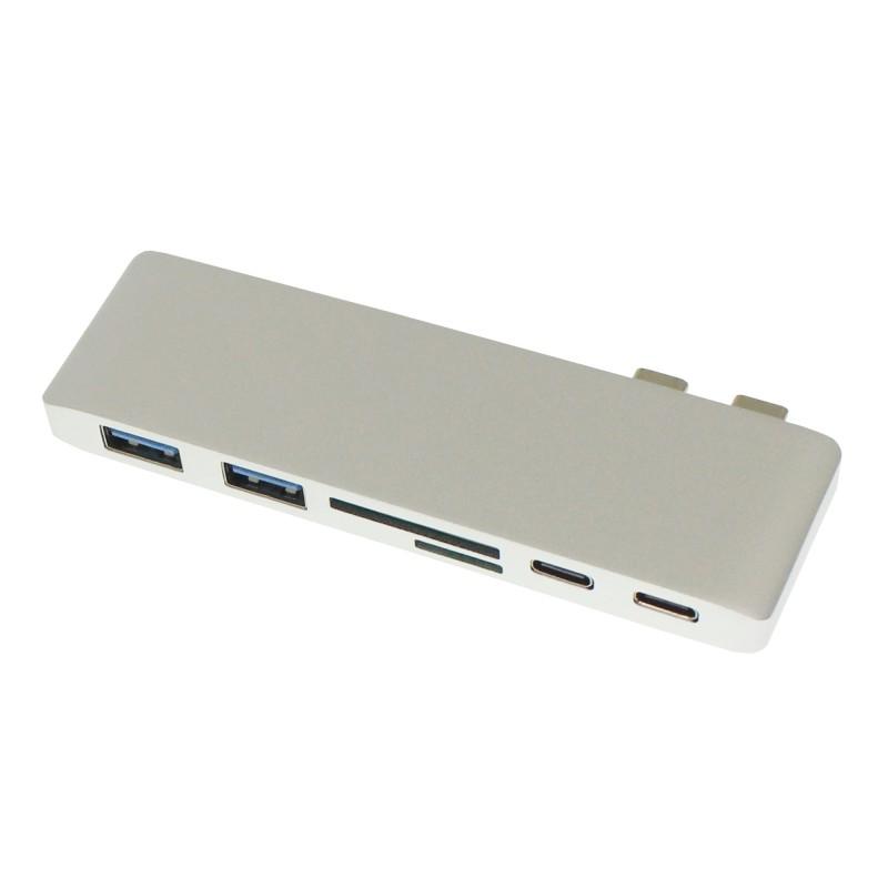 Αντάπτορας Type C Hub σε θύρες 2 x USB, SD, Micro SD και 2 x Type C OEM