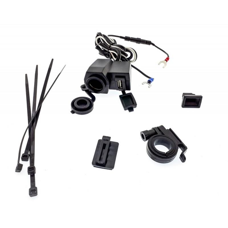 Αδιάβροχος φορτιστής θύρα USB 5V και αναπτήρα 12V για μοτοσυκλέτα 2.1 AMPS OEM Πρίζες ee2731