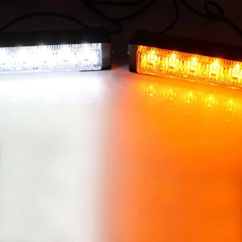 LED φάροι προειδοποίησης Strobe 6 SMD 12/24V πορτοκαλί και λευκό IP65 με διακόπτη ΟΕΜ