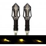 Φλάς μηχανής 12V 15 SMD LED πορτοκαλί amber universal σετ 2 τεμ. IP65 YN-WL04