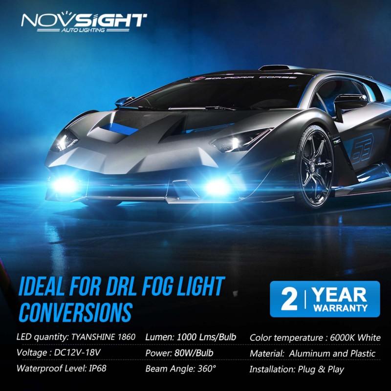 H3 LED 12V 32W 2000LM 6000K IP68 A397 F9 NOVSIGHT2 X 16W 2 έτη εγγύηση