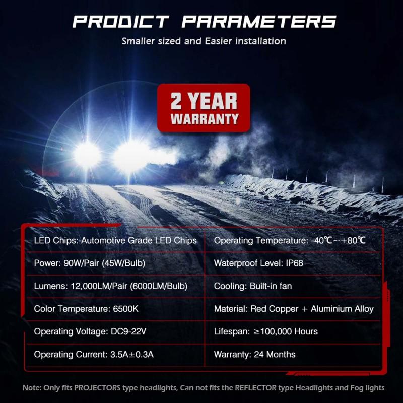 D2 LED 12V/24V 90W 12000LM 6500K IP68 A500 N26NOVSIGHT2 X 45W 2 έτη εγγύηση