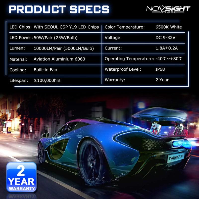 H3 LED 12/24V 50W 10000LM 6500K IP68 A500 N15 NOVSIGHT 2 X 25W 2 έτη εγγύηση