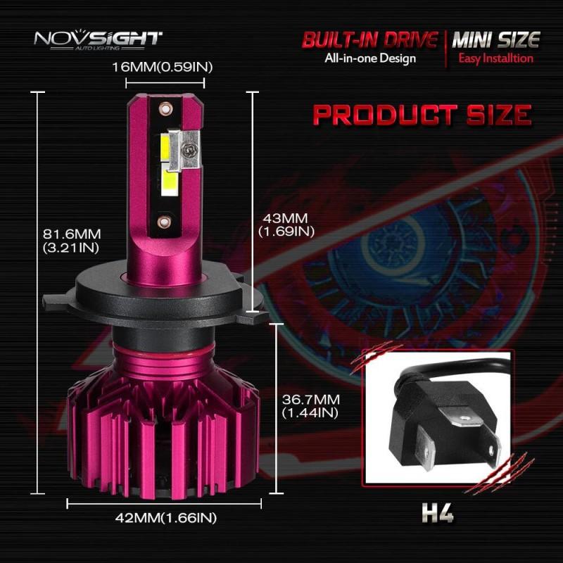 H4 LED 12V/24V (60W 10000LM) 6000K IP68 A500 N11S NOVSIGHT 2 x 30W
