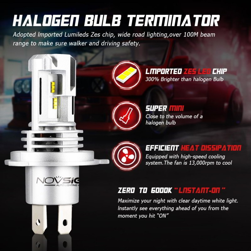 H4 LED 12V/24V (60W 10000LM) 6000K IP68 A500 N30S NOVSIGHT 2 x 30W