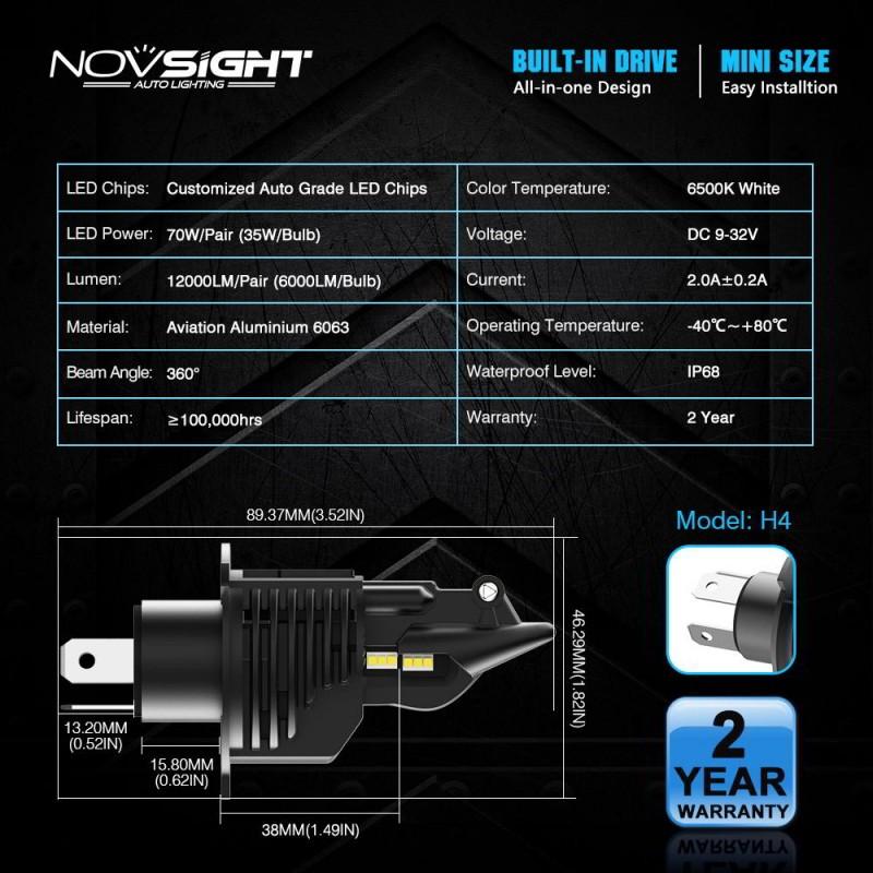 H4 LED 12V/24V (70W 12000LM) 6500K IP68 A500 N20B NOVSIGHT 2 x 35W
