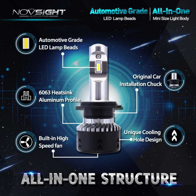 H7 LED 12V/24V (70W 10000LM) 6500K IP68 A385 N7 NOVSIGHT 2 x 35W