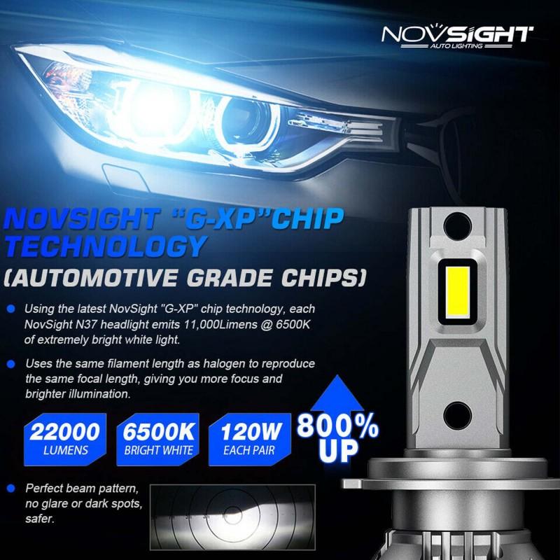 H7 9-32V LED 120W 22000LM 6500K IP68 A500 N37 NOVSIGHT 2 X 60W