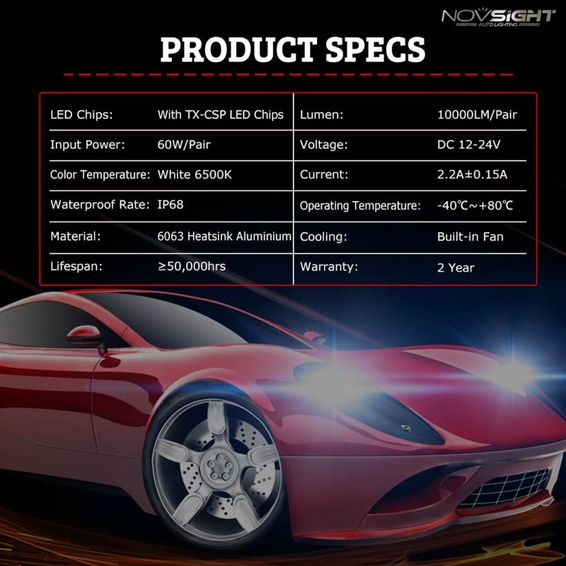 H11 12/24V LED (60W 10000LM) 6500K IP68 A386 N9 NOVSIGHT H-8 / H-11 ee3096