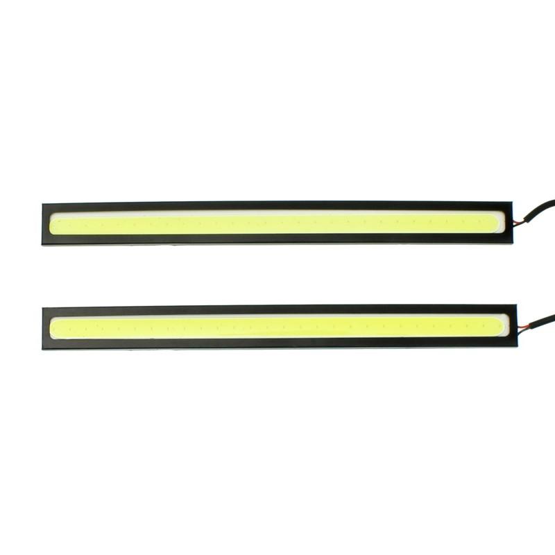 Φώτα ημέρας προβολάκια LED COB 12V ψυχρό λευκό 6500K IP65 2 x 17cm OEM
