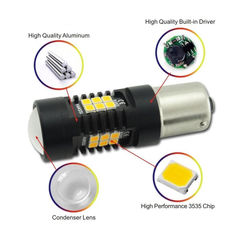 Μονοπολική λάμπα CANBUS LED 9W 21 SMD πορτοκαλί PY21W BAU15S 1 τεμ OEM