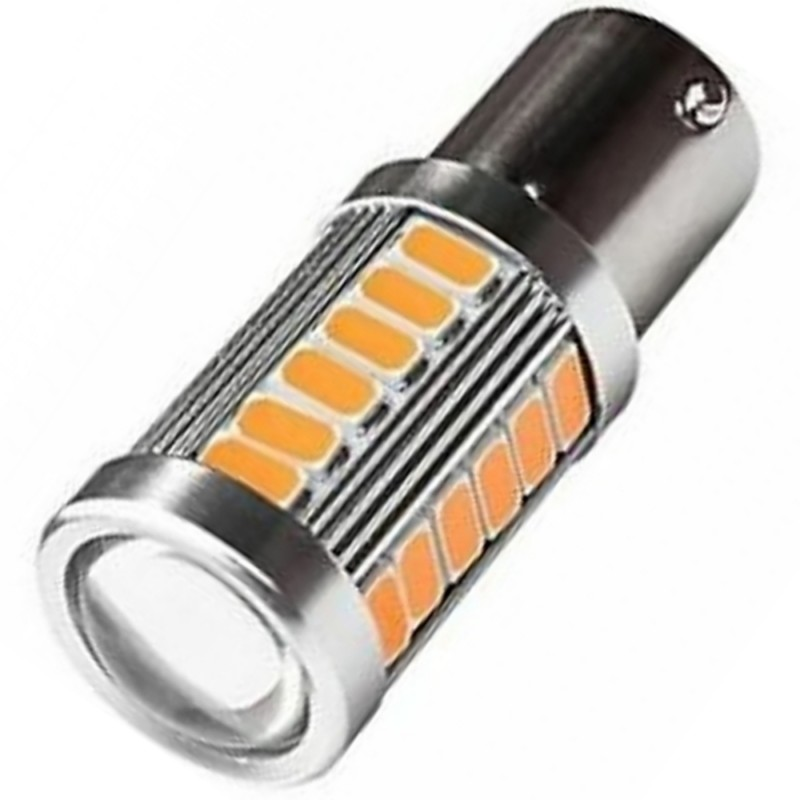 LED Μονοπολική λάμπα φλας Canbus 1156 BA15S P21W 33 SMD 4000Κ πορτοκαλί 1 τεμ. OEM