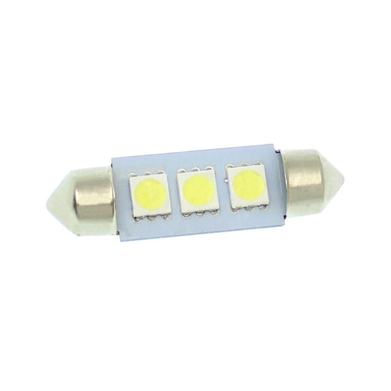 LED λαμπτήρας πλαφονιέρας (σωλήνας) 39mm C5W 12V 3 SMD 6000K ψυχρό λευκό 1 τεμ. OEM