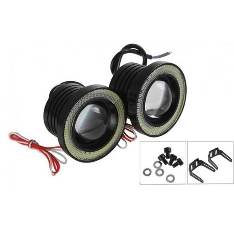 2 Χ Universal fog φώτα ομίχλης LED COB Angel Eyes (λευκό) projector chip 3 ίντσες 76mm R500 IP65 OEM