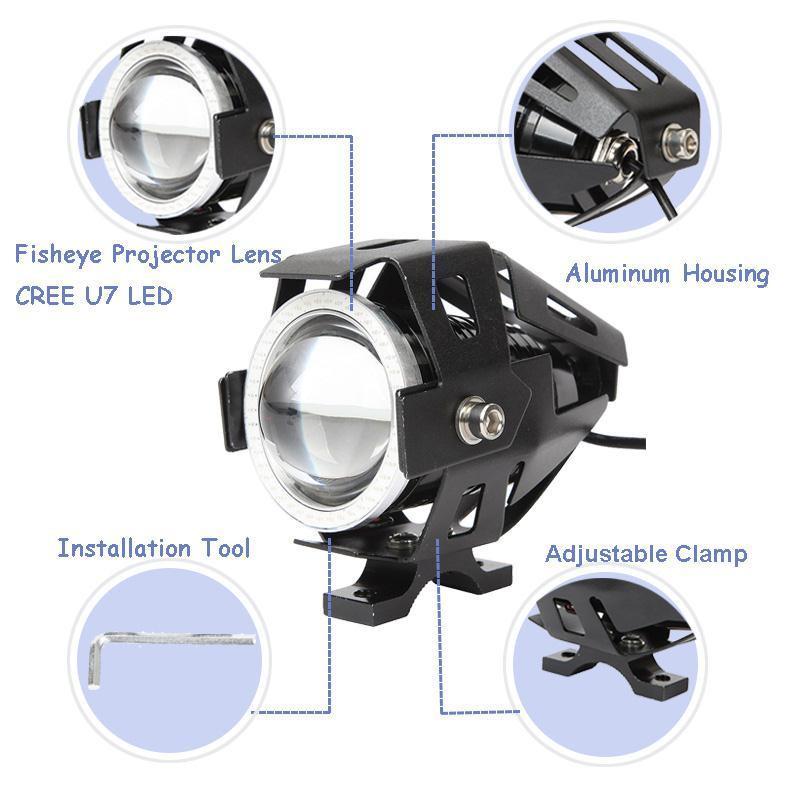 Αδιάβροχος προβολέας μοτοσυκλέτας 2.50 ίντσες Cree LED U7 Angel Eye με πράσινο φως στεφάνης μαύρου χρώματος 1 τεμ. IP67 OEM Προβολείς ee2344