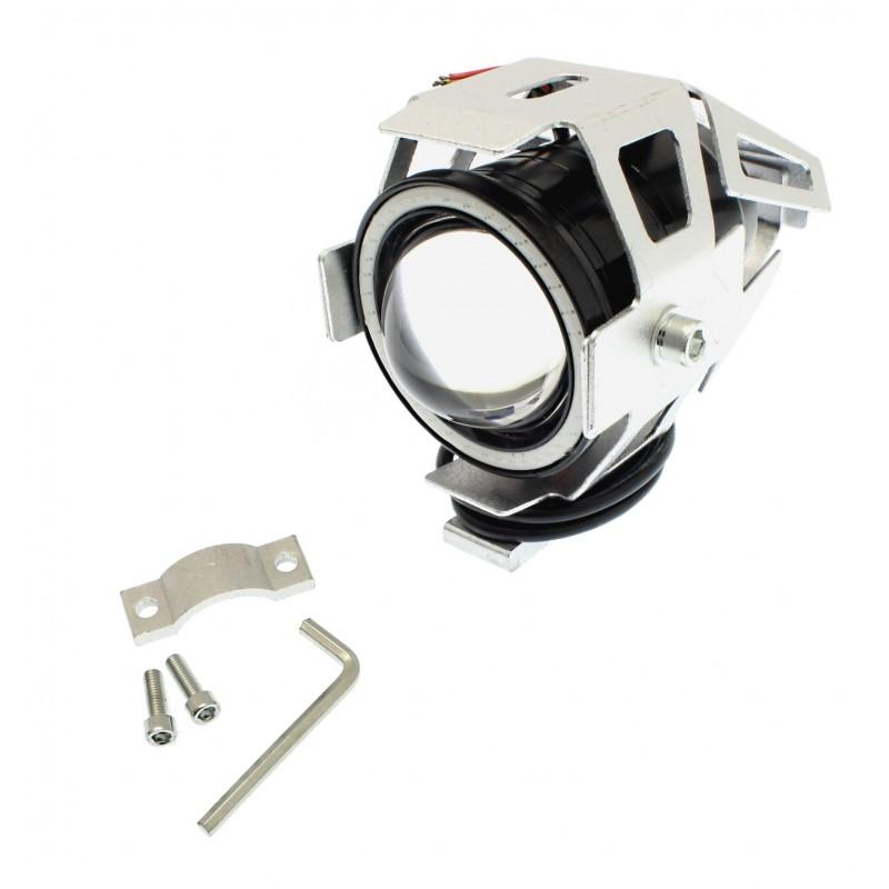 Αδιάβροχος προβολέας μοτοσυκλέτας 2.50 ίντσες Cree LED U7 Angel Eye με μπλε φως στεφάνης ασημί χρώματος 1 τεμ. IP67 OEM Προβολείς ee2541