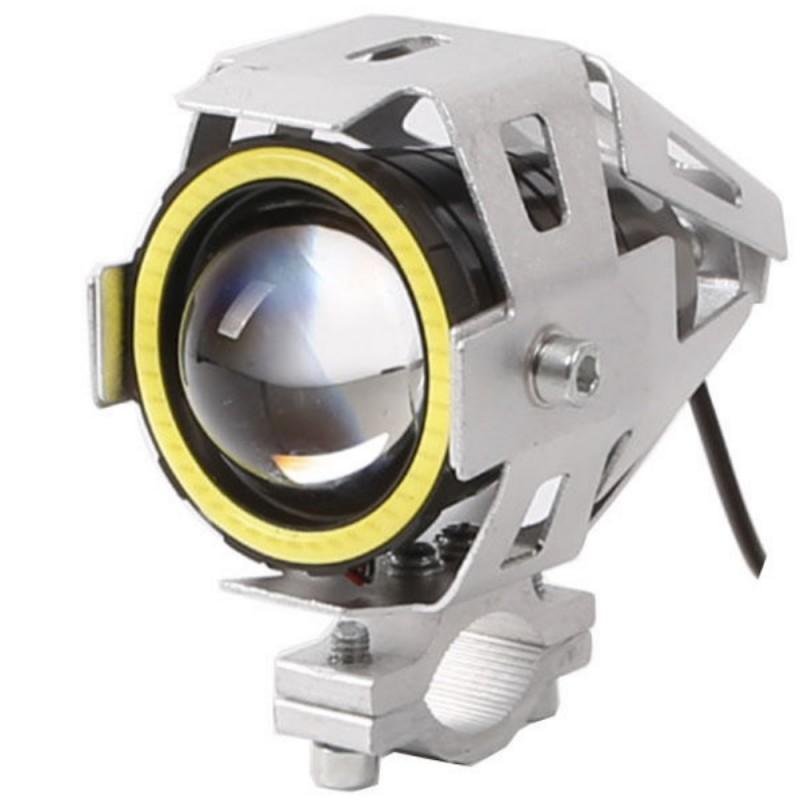 Αδιάβροχος προβολέας μοτοσυκλέτας 2.50 ίντσες Cree LED U7 Angel Eye με λευκό φως στεφάνης ασημί χρώματος 1 τεμ. IP67 OEM Προβολείς ee2542