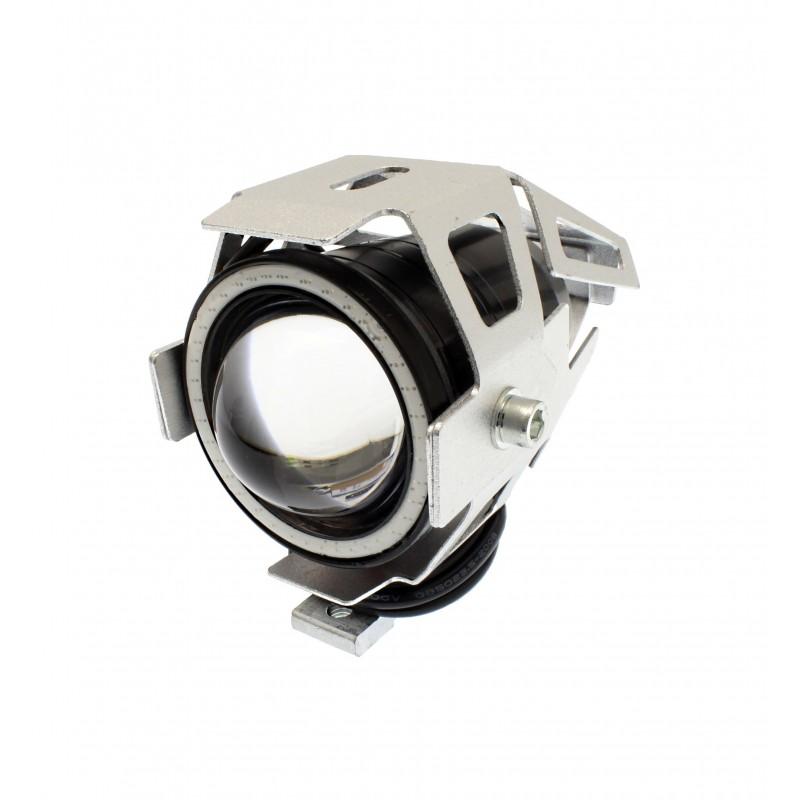 Αδιάβροχος προβολέας μοτοσυκλέτας 2.50 ίντσες Cree LED U7 Angel Eye με κόκκινο φως στεφάνης ασημί χρώματος 1 τεμ. IP67 OEM