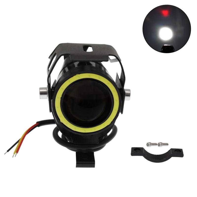 """Αδιάβροχος προβολέας μοτοσυκλέτας mini LED CREE U7 1.5"""" 15W 3000LM 12/24V Angel Eye λευκό Devil Eye κόκκινο IP67 1τεμ. OEM"""