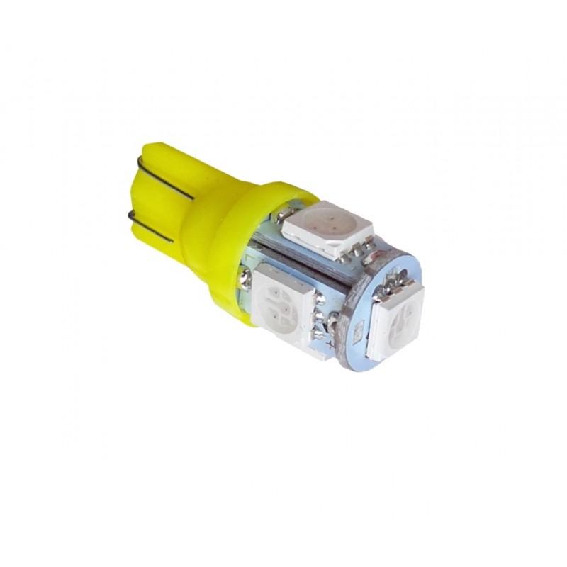 T10 LED W5W 5 SMD Κίτρινο 12V YN-LED02