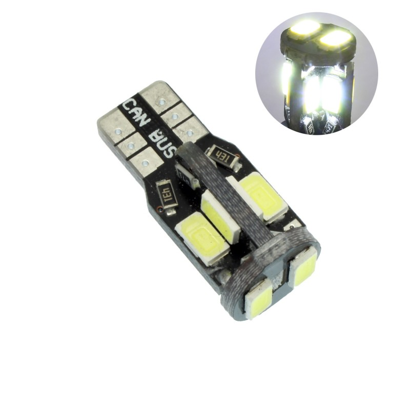T10 Canbus W5W W16W LED 10 SMD 12V 3000K θερμό λευκό 1 τεμ. OEM