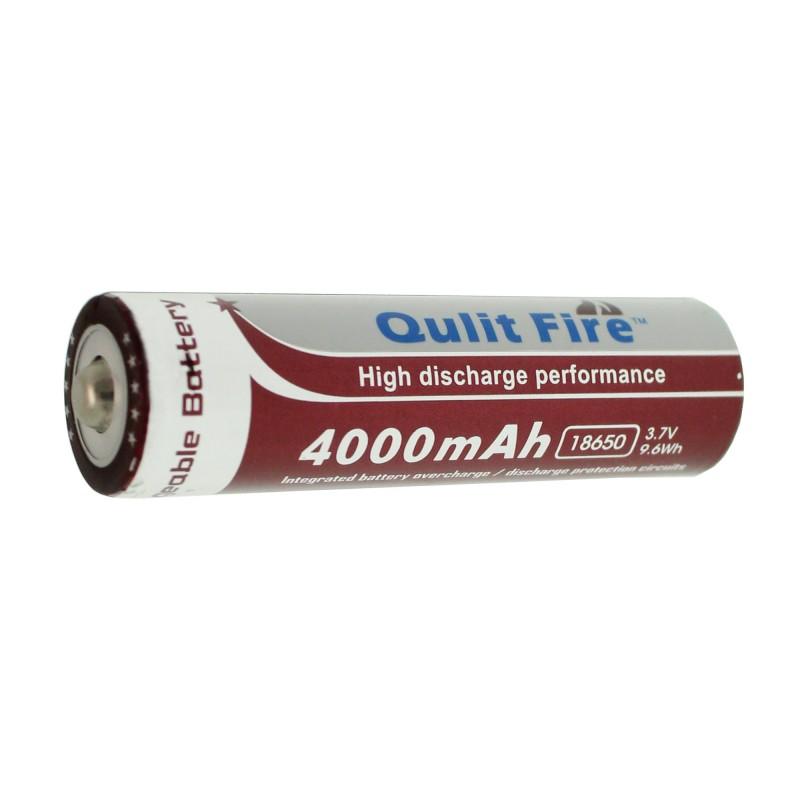 Επαναφορτιζόμενη μπαταρία 1 τεμάχιο τύπου 18650 Li-ion 3.7V 4000mAh Qulit Fire OEM