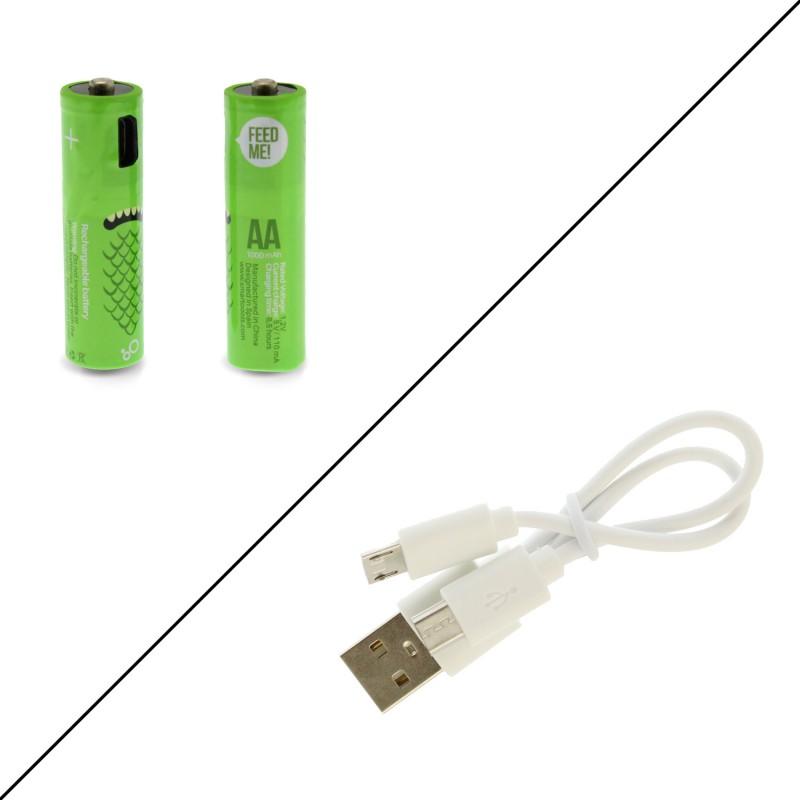 Επαναφορτιζόμενες μπαταρίες χρώματος πράσινο 2 τεμ. τύπου ΑΑ με micro usb καλώδιο, 1,2V Smartooοls
