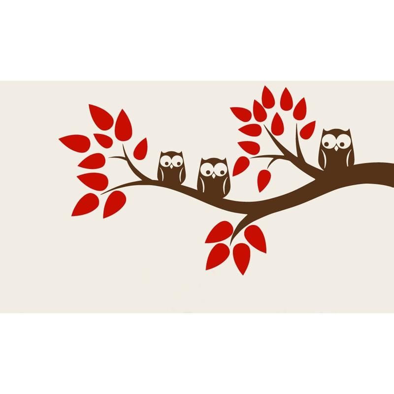 Αυτοκόλλητο τοίχου κουκουβάγιες σε δέντρο κόκκινο-καφέ OEM