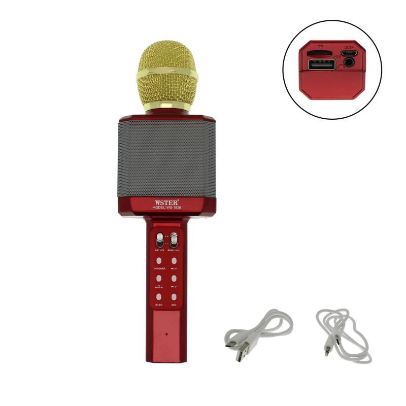 Ασύρματο μικρόφωνο Karaoke με Βluetooth ηχείο κόκκινο WS-1828 OEM
