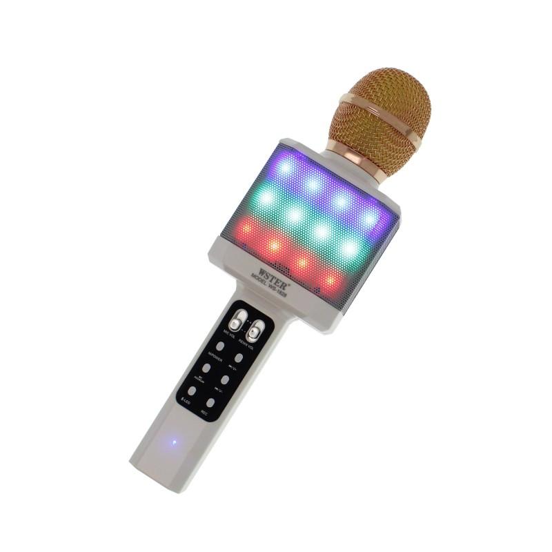Ασύρματο μικρόφωνο Karaoke με Βluetooth ηχείο λευκό WS-1828 OEM