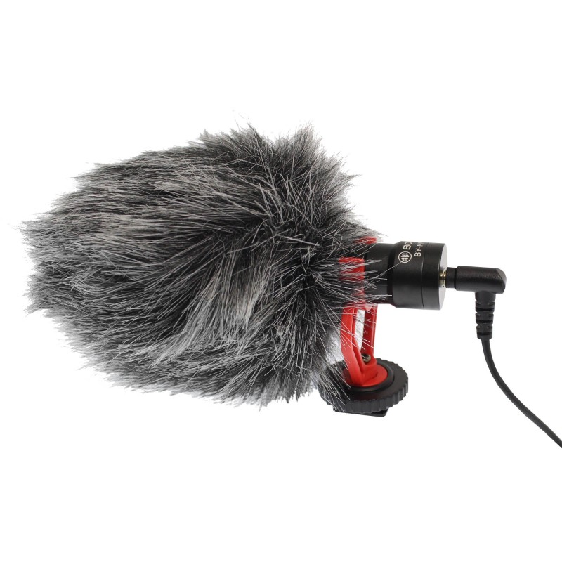 Καρδιοειδές mini μικρόφωνο με γούνινο αντιανέμιο 3.5mm TRS, 3.5mm TRRS καλώδιο και βάση στήριξης Boya BY-MM1