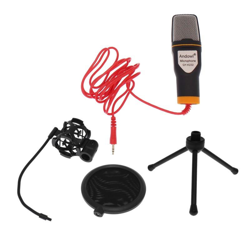 Πυκνωτικό μικρόφωνο με βάση αράχνη, pop φίλτρο, τρίποδο και 3.5mm jack υποδοχή QY-K222 Andowl