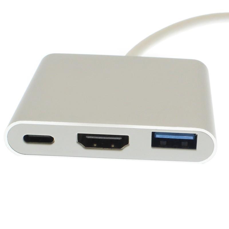 3 σε 1 USB Type-C Multimedia Hub  USB 3.0 HDMI 4K ασημί OEM