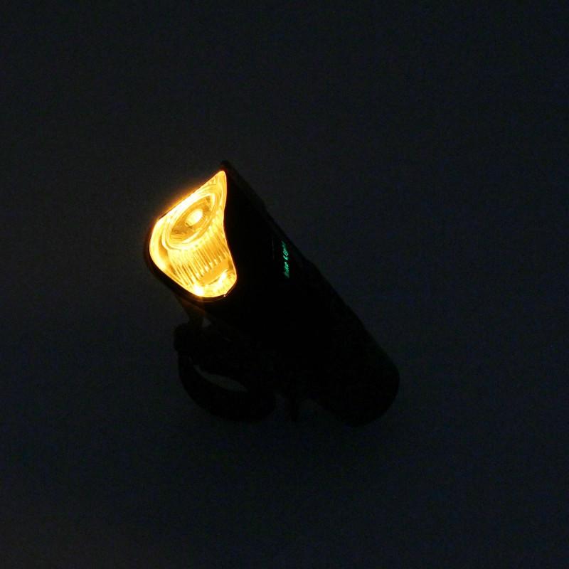 Επαναφορτιζόμενος φακός LED ποδηλάτου με ενσωματωμένη κόρνα και 4 λειτουργίες ψυχρό λευκό-πορτοκαλί 250LMμαύρος XA-585
