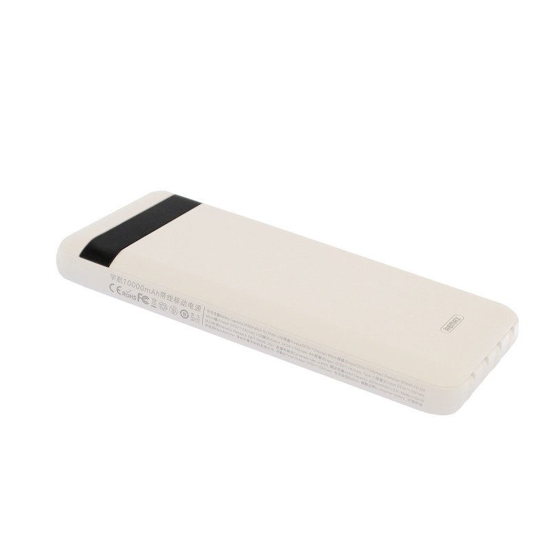 Powerbank 2A με θύρες USB/Micro USB, βύσματα Lightning/Type C/Micro USB/USB 10000mAh λευκό RPP-222 REMAX