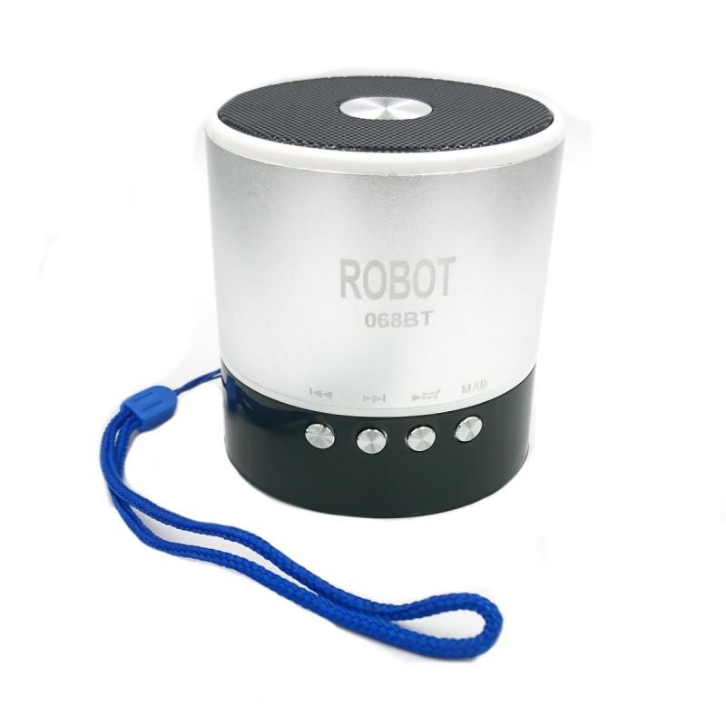 Φορητό Bluetooth ψηφιακό ραδιόφωνο - speaker usb / tf / line in / με εσωτερική μπαταρία Robot-068BT extra loud ασημί OEM Ραδιοφωνάκια ee3432