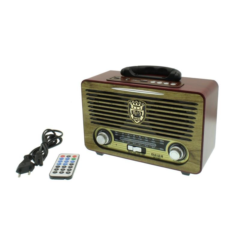 Φορητό ραδιόφωνο bluetooth mp3 player usb TF card με χειριστήριο κόκκινο μπεζ Meier M-115BT