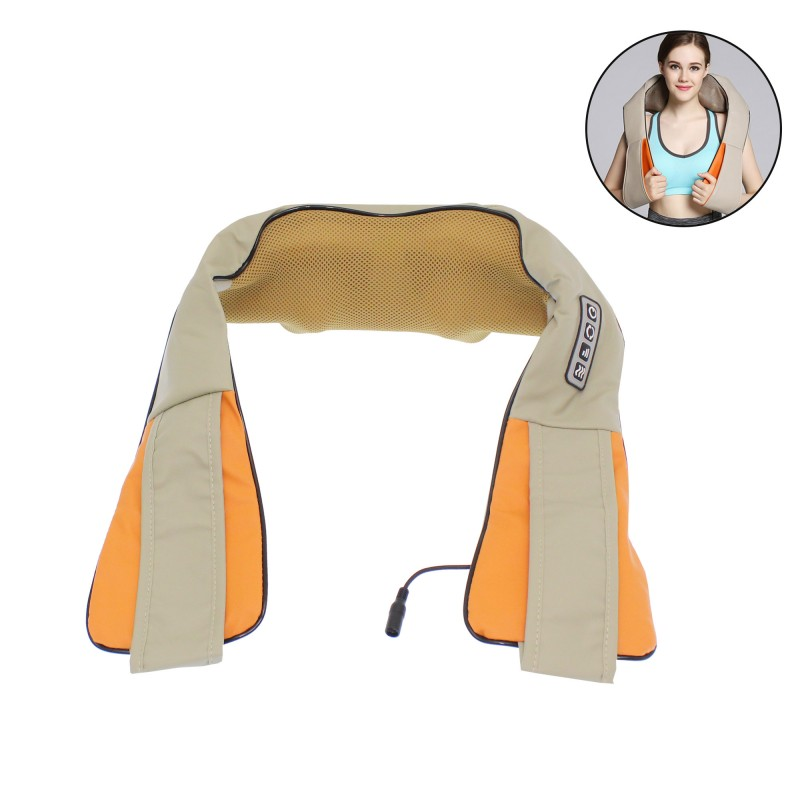 Συσκευή μασάζ για τον αυχένα 3 ταχύτητες έντασης, τροφοδοτικό πρίζας και φορτιστή αυτοκινήτου μπεζ-πορτοκαλί Massager of neck kneading