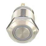 Αδιάβροχο ανοξείδωτο button με 4 pins LED 12mm εντολής (κόρνα / εκκίνηση κινητήρα) μπλε 12V OEM