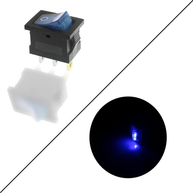 Διακόπτης On/Off 12V 15A (max) 3 pins μπλε OEM