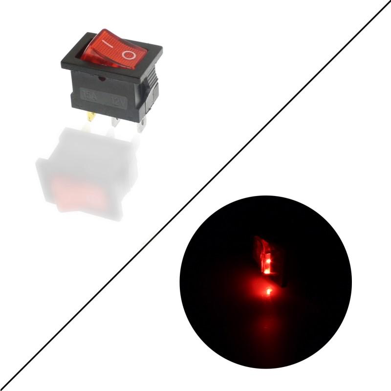 Διακόπτης On/Off 12V 15A (max) 3 pins κόκκινο OEM