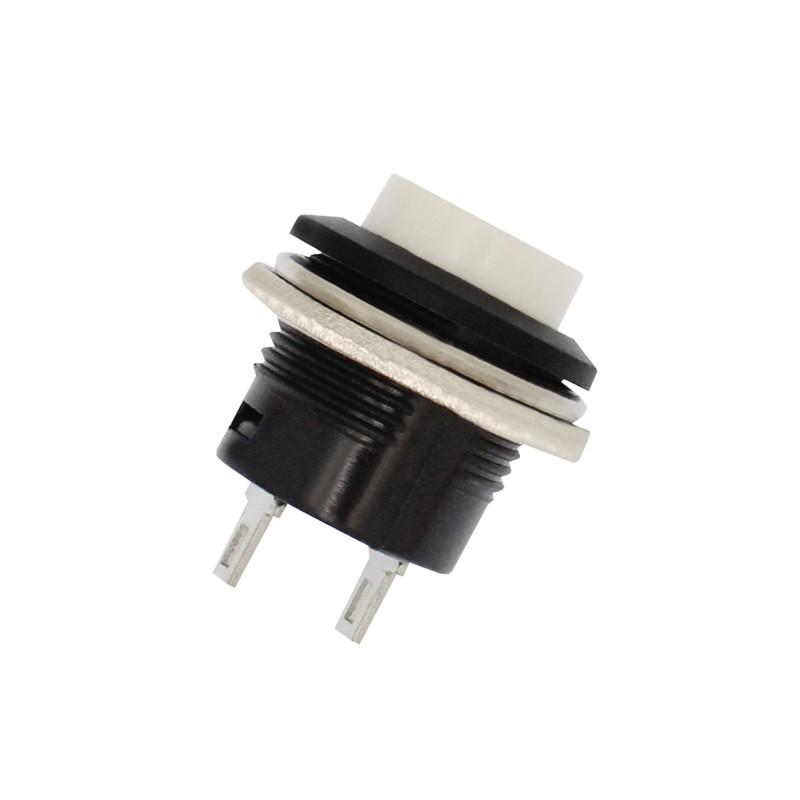 Αδιάβροχος διακόπτης button εντολής 2 pins (κόρνα / εκκίνηση κινητήρα) λευκό OEM