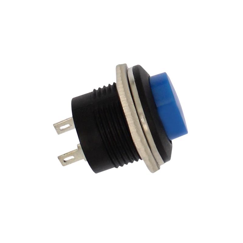 Αδιάβροχος διακόπτης button εντολής 2 pins (κόρνα / εκκίνηση κινητήρα) μπλε OEM